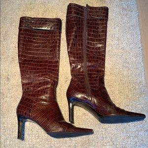 RL by Ralph Lauren Faux Croc knee high boots